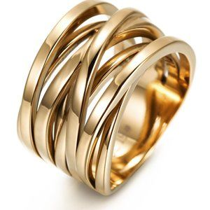 PVD 18K GOLD PLEATED INTERTWINED STATEMENT RING